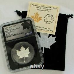 2020 Argent Canada Proof 20 $ Incuse Maple Leaf 1 Oz Rhodium Plaque Ngc Pr 70 Fdoi