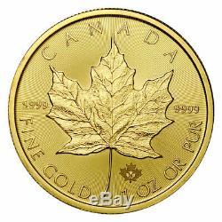 2020 Canada 1 Oz D'or Feuille D'érable 50 $ Monnaie Monnaie Royale Canadienne. 9999 Or Pur