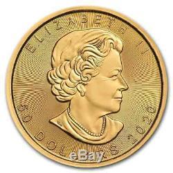 2020 Canada 1 Oz D'or Maple Leaf 50 $ Coin. 9999 Fin Bu