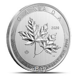 2020 Canada 10 Oz. 9999 Argent Magnifique Feuille D'érable Bu Capsule 50 $ 10 Oz