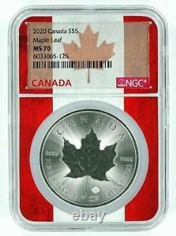 2020 Canada 5 $ Maple Leaf Silver 1 Oz Ngc Ms 70 Qualité Flag Core