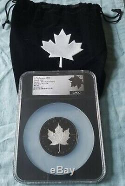 2020 Canada $ 50 En Argent Feuille D'érable 3 Onces Incuse Noir Rhodium Ngc Pf70 Fdoi