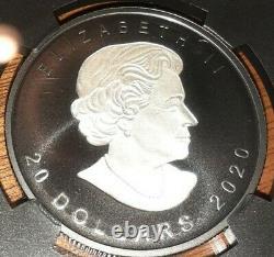 2020 Canada Feuille D'érable En Argent Incuse Rhodium Noir 1 Oz 20 $ Preuve Ngc Pf70 Fr