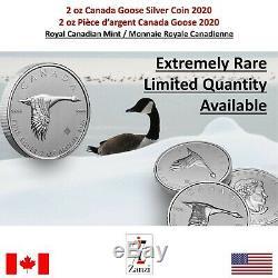 2020 Canada Goose Canada 2 Oz D'argent Pièce De 10 $ Gem Bu Coin
