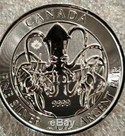 2020 Kraken Canadienne 2 Oz 9999 Argent Pirate Pièce De Monnaie Sous La Bête De La Mer
