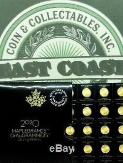 2020 Maplegram. 9999 Or (1 Gramme) 50 Cent Maple Leaf Rcm Dosage Ecc & C, Inc