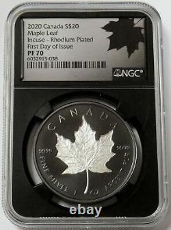 2020 Silver Canada Proof 20 $ Incus 1 Oz Plate De La Feuille Maple Rhodium Ngc Pr 70 Fdoi