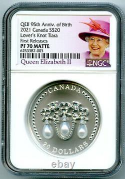 2021 20 $ Canada 1 Oz Silver Proof Ngc Pf70 Knot Tiara Fs De La Reine Elizabeth Lover