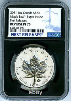 2021 20 $ Canada 1 Oz Silver Super Incuse Maple Leaf Ngc Pf70 Inverser La Preuve En