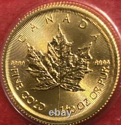 2021 5 Dollars Canada 1/10 Oz Feuille D'érable Or Bu Menthe Scellée