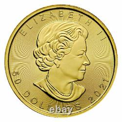 2021 Canada 1 Oz Feuille D'érable D'or 50 $ Pièce Gem Bu Presale