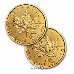 2021 Canada 1 Oz Feuille D'érable Dorée Bu. 9999 Mrc Fine (lot De 2 Pièces)