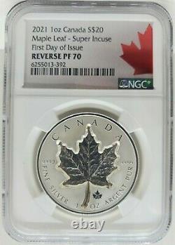 2021 Canada Maple Leaf Super Incuse 1 Oz Argent Ngc Pf70 Pièce De Preuve Inversée Fdoi