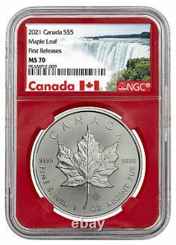2021 Canada S$5 Feuille D'érable 1 Oz Argent Ngc Ms70 Fr Pop 27 Sur 391