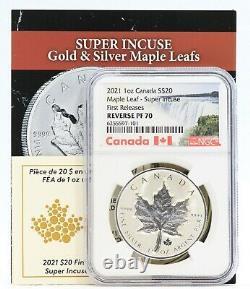 2021 Canada Super Incuse Maple Leaf 1 Oz Argent Ngc Pf70 Inverser 20 $ Pièce Jl21