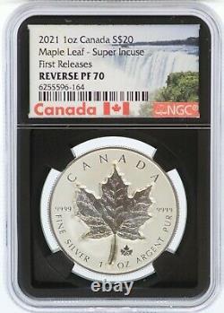 2021 Canada Super Incuse Maple Leaf 1 Oz Argent Ngc Pf70 Inverser 20 $ Pièce Jl22