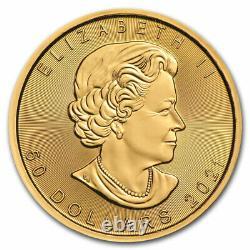 2021 Canadian 1 Oz Gold Maple Leaf 50 $ Pièce De Monnaie. 9999 Bu Amende