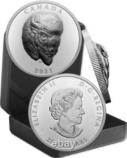 2021 Ehr Bold Bison Extra High Relief Head 25 $ 1oz Pure Silver Proof Coin Canada