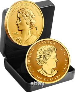 2021 Lady Peace Nation Pax 200 $ 1oz 99.999 Pure Gold Proof Coin Canada Sea-sea