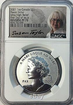 2021 W Canada 1 $ Paix Dollar Uhr Ngc Reverse Proof 70 Ide Taylor