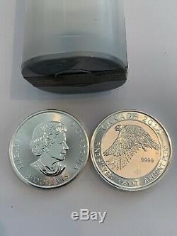 22,5 Oz Au Total 2016 1,5 Oz Blanc Canadien D'argent Falcon 8 $ Coin. 9999 Bu Rouleau 15