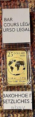 25 $ 2016 1/10 Oz Monnaie Royale Canadienne 1/10 Oz Gold Bar De 5 Set Bar