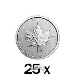 25 X 1 Oz 2019 Argent Feuille D'érable Monnaie Mrc Monnaie Royale Canadienne