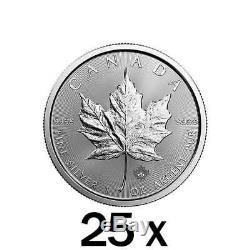 25 X 1 Oz D'argent Feuille D'érable Coin Mrc Aléatoire Année Monnaie Royale Canadienne