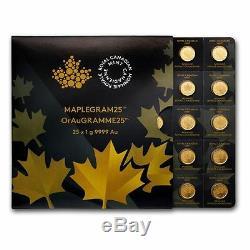 25x 1 Gramme D'or Maple Leafs Rcm Maplegram25 Dans Le Dosage