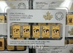 (5) 1/10 Oz Or Bars Monnaie Royale Canadienne Scellée Dans La Carte De Dosage -1/2 Oz Au Total