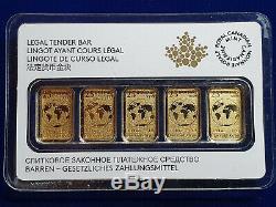 (5) 2016 1/10 Oz Canada Or La Monnaie Royale Canadienne. 9999 Fin 25 $ Bar (1/2 Oz)