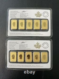 (5) 2016 25 $ Royal Canadian Mint Gold Bar Coin 1/10 Oz (bu) 24kt. 9999 Or Fin