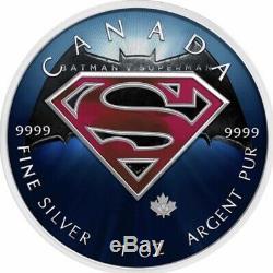 5 Canada 1 Oz D'argent Superman Batman $ Logo V Superman Logo. 9999 Box, Cap, Coa