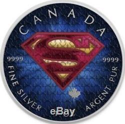 5 $ Canada 1 Oz D'argent Superman Logo Original. 9999 Box, Cap, Coa, & Box