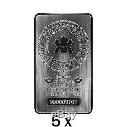 5 X 10 Oz D'argent Bar Rcm Monnaie Royale Canadienne