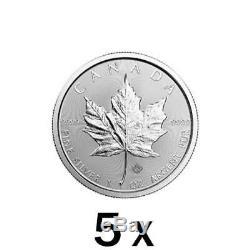 5 X 5 Oz 1 Oz 2019 Argent Feuille D'érable Coin Mrc. 9999 Ag Monnaie Royale Canadienne