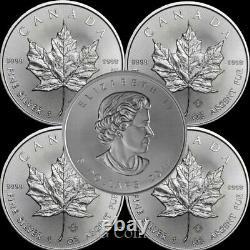 5 X Feuille D'érable Canadienne 1 Oz 999,9 Pièces De Lingots D'argent. Plusieurs Années