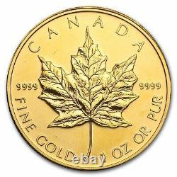 50 $ Feuille D'érable Canadienne D'or. 9999 1 Oz Random Year Brilliant Uncirculated