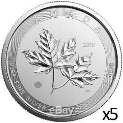 50 Oz 5 X 10 Oz 2019 Argent Magnifique Feuille D'érable Coin Mrc. 9999 Ag