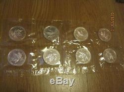 8 X 1999/2000 Silver Coins Feuille D'érable Canadienne Bullion 1 Oz