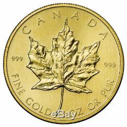 Au Hasard Date Canada 1 Oz 999 Or Fin Maple Leaf 50 $ Coin Sku26124