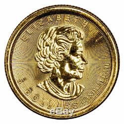 Au Hasard Date Canada 5 $ 1/10 Oz D'or Maple Leaf Gem Bu Non Sealed