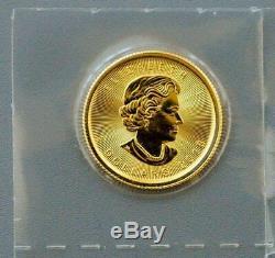 Authentique 2018 Canada Maple Leaf 1/10 Onces. 9999 Or Pièce De 5 $ Bu Monnaie Capsule