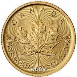 Canada 1/10 Oz. 9999 Fine Gold Maple Leaf Coin Gem Année Aléatoire Non Circulée