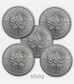 Canada 1 Oz Feuille D'érable D'argent (année Random) Lot De 5 Pièces. 9999 Argent Fin