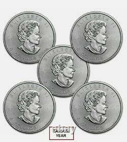 Canada 1 Oz Feuille D'érable D'argent (uncirculated) Lot De 5 Pièces. 9999 Argent Fin
