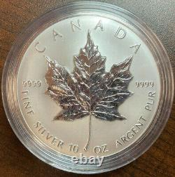 Canada 10 Oz Fine Silver Maple Feuille De 50 Dollars 1998 10ème Anniaire De La Feuille D'érable