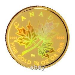 Canada 2001 1/4 Oz. 9999 Hologramme D'or Fin Feuille D'érable Mintage Limité