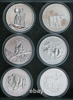 Canada 2011-2013 Série De 5 $ Wildlife Series Ensemble De Six Pièces D'argent De 1 Oz