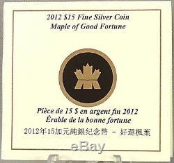 Canada 2012 15 $ Maple De Bonne Fortune 1 Oz Argent Pur Hologram Proof Coin
